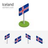 De vlag van IJsland, vectorreeks 3D isometrische pictogrammen Stock Afbeeldingen