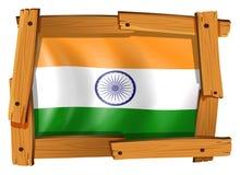 De vlag van India in houten kader Royalty-vrije Stock Afbeeldingen
