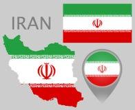 De vlag van Iran, kaart en kaartwijzer stock illustratie
