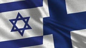 De Vlag van Israël en van Finland - Twee Vlaggen samen stock foto's