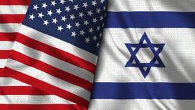 De Vlag van Israël en van de V.S. - 3D illustratie Twee Vlag stock illustratie
