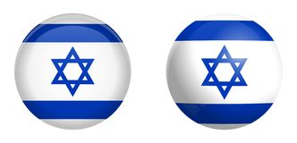 De vlag van Israël onder 3d koepelknoop en op glanzende gebied/bal stock illustratie