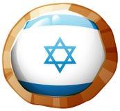 De vlag van Israël op rond kader Stock Afbeeldingen