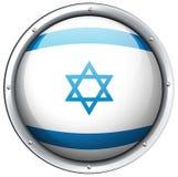 De vlag van Israël op rond kenteken Stock Foto's