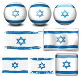 De vlag van Israël op verschillende voorwerpen Royalty-vrije Stock Afbeeldingen