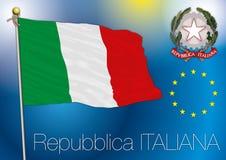 De vlag van Italië en wapenschild Stock Foto's
