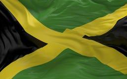 De vlag van Jamaïca die in de 3d wind golven geeft terug Stock Afbeelding