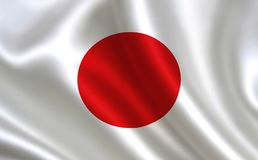 De Vlag van Japan Een reeks `-Vlaggen van de wereld ` Het land - de vlag van Japan Stock Foto