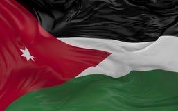 De vlag van Jordanië die in de 3d wind golven geeft terug Stock Foto