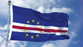 De Vlag van Kaapverdië in een Blauwe Hemel royalty-vrije stock foto