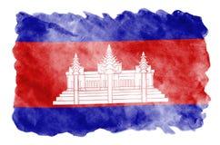De vlag van Kambodja wordt in vloeibare waterverfstijl afgeschilderd die op witte achtergrond wordt geïsoleerd stock afbeelding