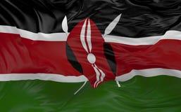 De vlag van Kenia die in de 3d wind golven geeft terug Stock Afbeelding