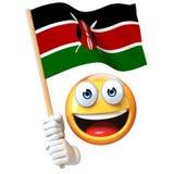 De vlag van Kenia van de Emojiholding, emoticon golvende nationale vlag van het 3d teruggeven van Kenia Stock Afbeeldingen