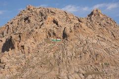 De Vlag van Koerdistan op een Berg wordt geschilderd die Stock Fotografie