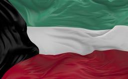 De vlag van Koeweit die in de 3d wind golven geeft terug Royalty-vrije Stock Foto's