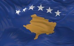 De vlag van Kosovo die in de 3d wind golven geeft terug Stock Afbeeldingen