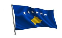 De vlag van Kosovo Een reeks `-Vlaggen van de wereld ` Het land - Kosovo Stock Afbeeldingen