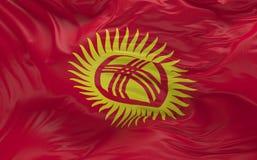 De vlag van Kyrgyzstan die in de 3d wind golven geeft terug Stock Afbeeldingen