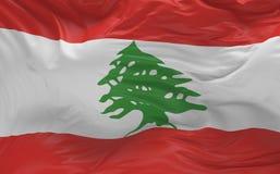 De vlag van Libanon die in de 3d wind golven geeft terug Stock Foto's