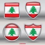 De Vlag van Libanon in 4 vormeninzameling met het knippen van weg Stock Foto