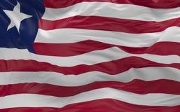 De vlag van Liberia die in de 3d wind golven geeft terug Stock Afbeelding