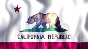 De Vlag van Loopable van de Staat van Californië stock videobeelden