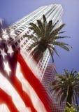 De Vlag van Los Angeles en van de V.S. Stock Foto's