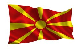 De vlag van Macedonië Een reeks `-Vlaggen van de wereld ` Het land - Macedonië Royalty-vrije Stock Foto