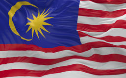 De vlag van Maleisië die in de 3d wind golven geeft terug Stock Afbeeldingen