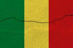 De vlag van Mali op concrete muur met barst stock foto