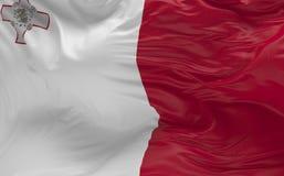 De vlag van Malta die in de 3d wind golven geeft terug Stock Foto
