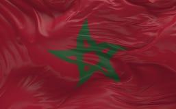 De vlag van Marokko die in de 3d wind golven geeft terug Stock Afbeelding