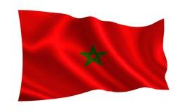 De vlag van Marokko Een reeks `-Vlaggen van de wereld ` Het land - Marokko Stock Afbeeldingen