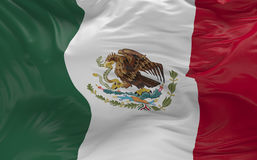 De vlag van Mexico die in de 3d wind golven geeft terug Stock Foto
