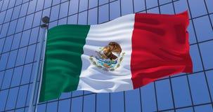 De vlag van Mexico op wolkenkrabber de bouwachtergrond 3D Illustratie royalty-vrije stock fotografie
