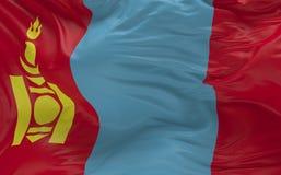 De vlag van Mongolië die in de 3d wind golven geeft terug Stock Foto