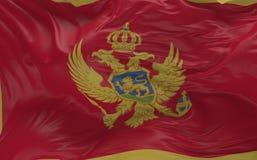 De vlag van Montenegro die in de 3d wind golven geeft terug Stock Fotografie