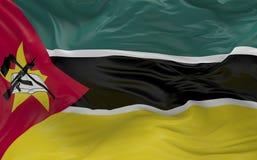 De vlag van Mozambique die in de 3d wind golven geeft terug Stock Afbeeldingen