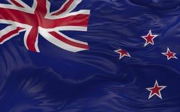 De vlag van Nieuw Zeeland die in de 3d wind golven geeft terug Stock Foto