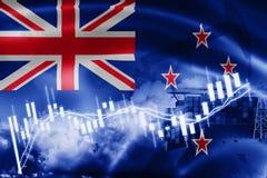 De vlag van Nieuw Zeeland, effectenbeurs, uitwisselingseconomie en Handel, olieproductie, containerschip in de uitvoer en de invo stock illustratie
