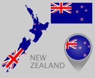 De vlag van Nieuw Zeeland, kaart en kaartwijzer royalty-vrije illustratie