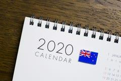 De Vlag van Nieuw Zeeland op de Kalender van 2020 royalty-vrije stock foto's