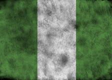 De vlag van Nigeria van Grunge Stock Afbeelding