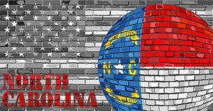 De vlag van Noord-Carolina op de grijze V.S. markeert achtergrond Royalty-vrije Stock Afbeelding