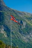 De vlag van Noorwegen - aard en reisachtergrond Royalty-vrije Stock Fotografie