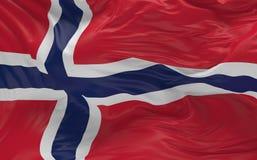 De vlag van Noorwegen die in de 3d wind golven geeft terug Stock Afbeelding