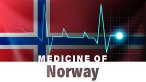 De vlag van Noorwegen en de illustratie van de hartslaglijn Geneeskunde van Noorwegen met de naam van het land vector illustratie
