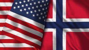 De Vlag van Noorwegen en van de V.S. - 3D illustratie Twee Vlag vector illustratie