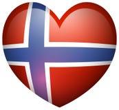 De vlag van Noorwegen in hartvorm stock illustratie
