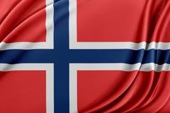 De vlag van Noorwegen met een glanzende zijdetextuur royalty-vrije illustratie